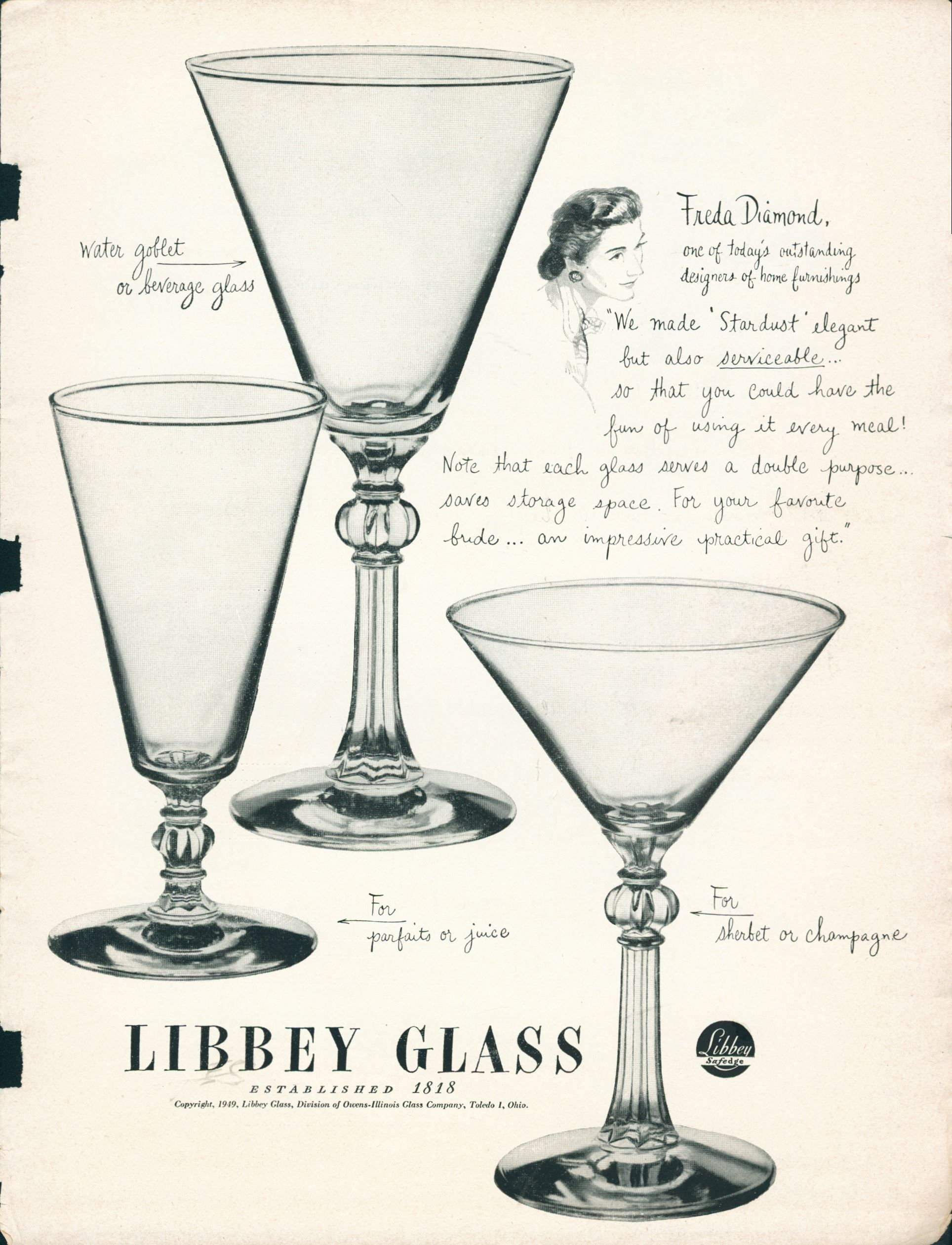 Ad with image of designer and glassware