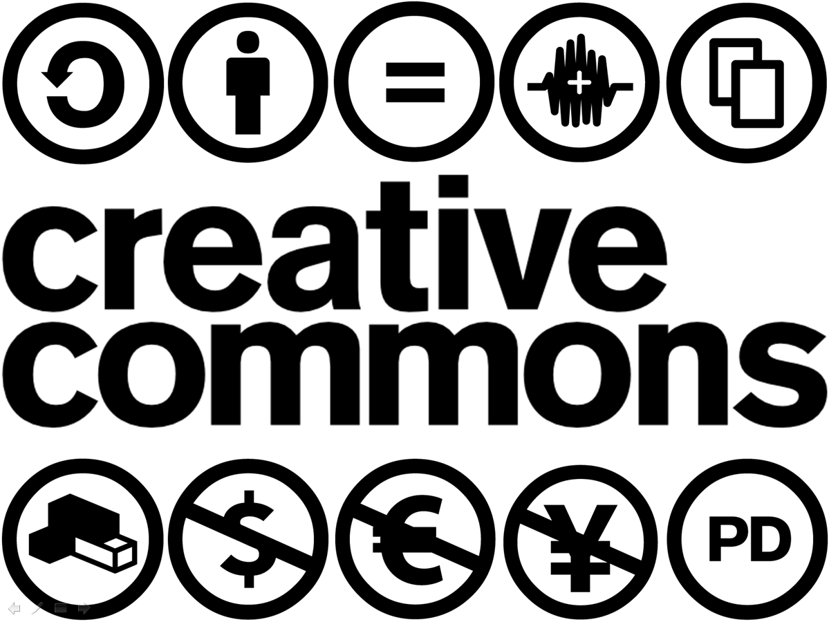 The text Creative Commons with the various creative commons icons surrounding the text