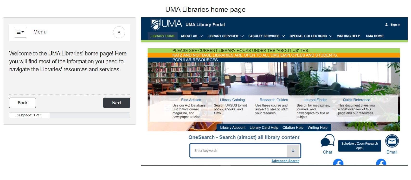 Image of the first page of the Intro to UMA Libraries tutorial