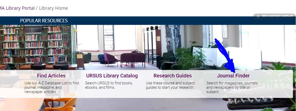Image of the UMA Libraries home page