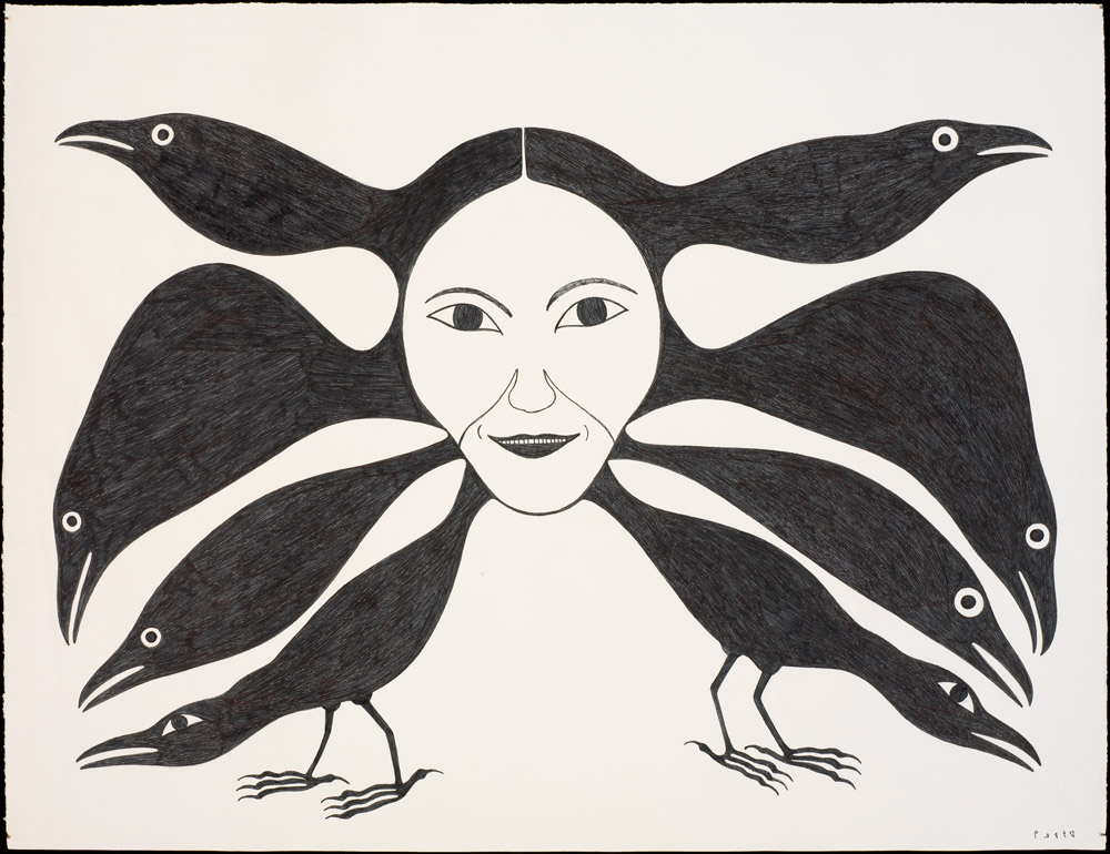 Untitled print of black birds and a woman's face by Kenojuak Ashevak (Inuit(