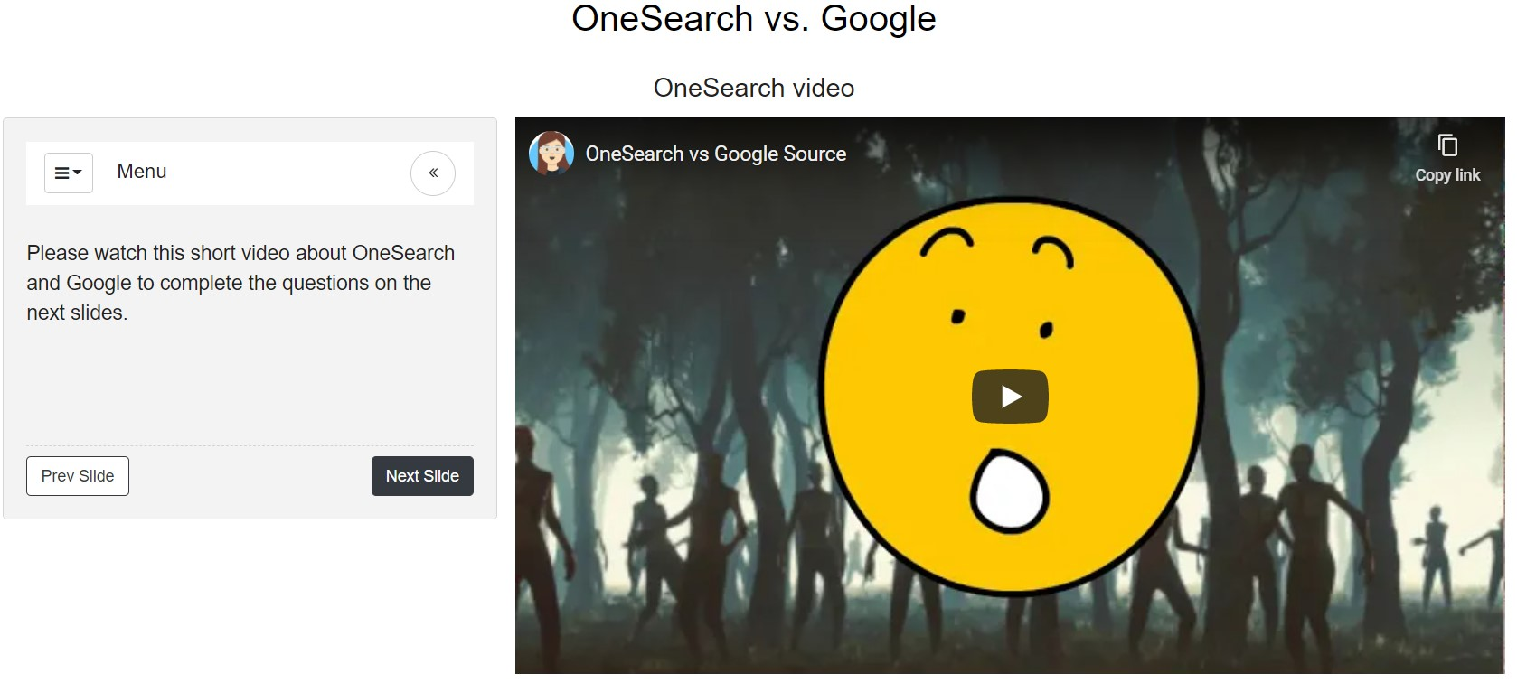 Screenshot from OneSearch vs. Google tutorial page
