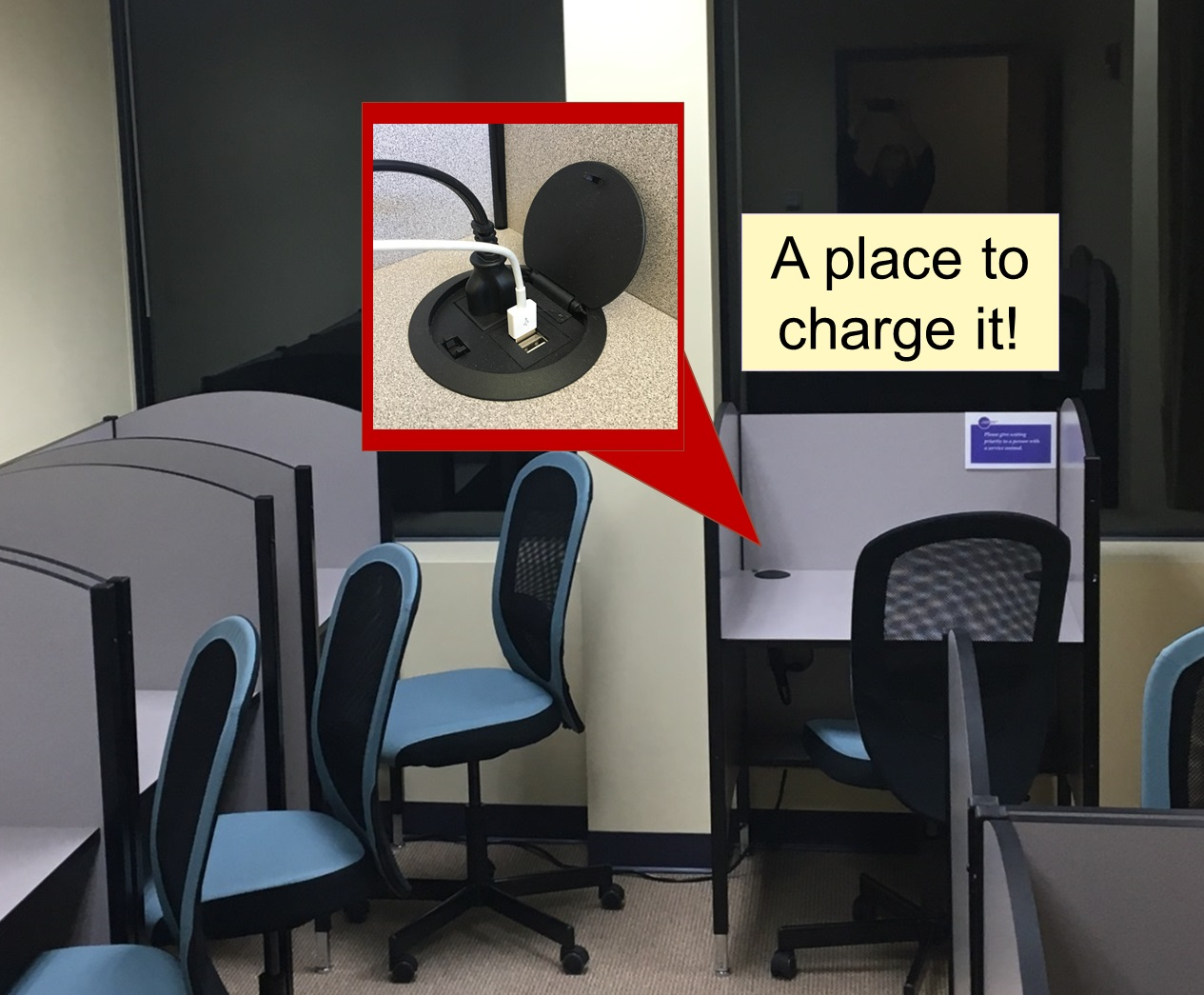 Carrels with USB and electrical outlets