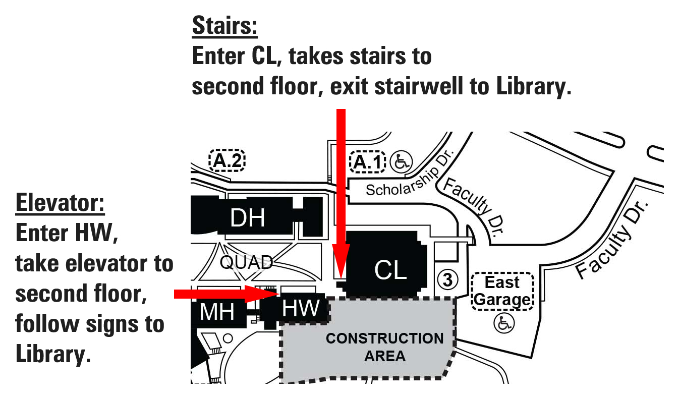Map showing the stair and elevator entrances.
