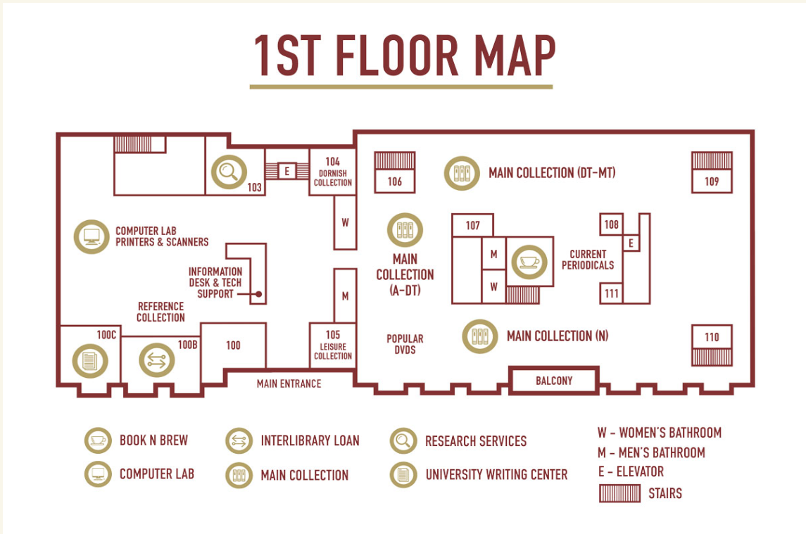 Map of first floor of the Library