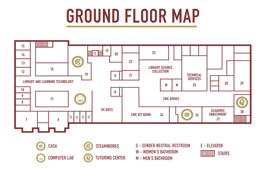 Map of the Ground Floor of the Library