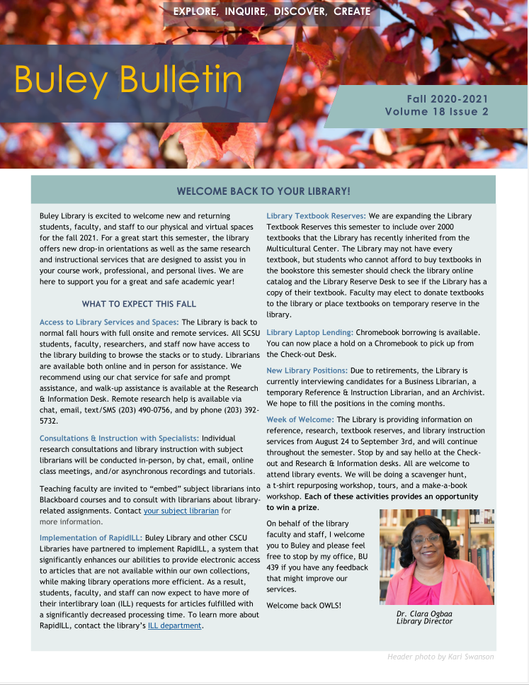 First page of Buley Bulletin Fall 2021