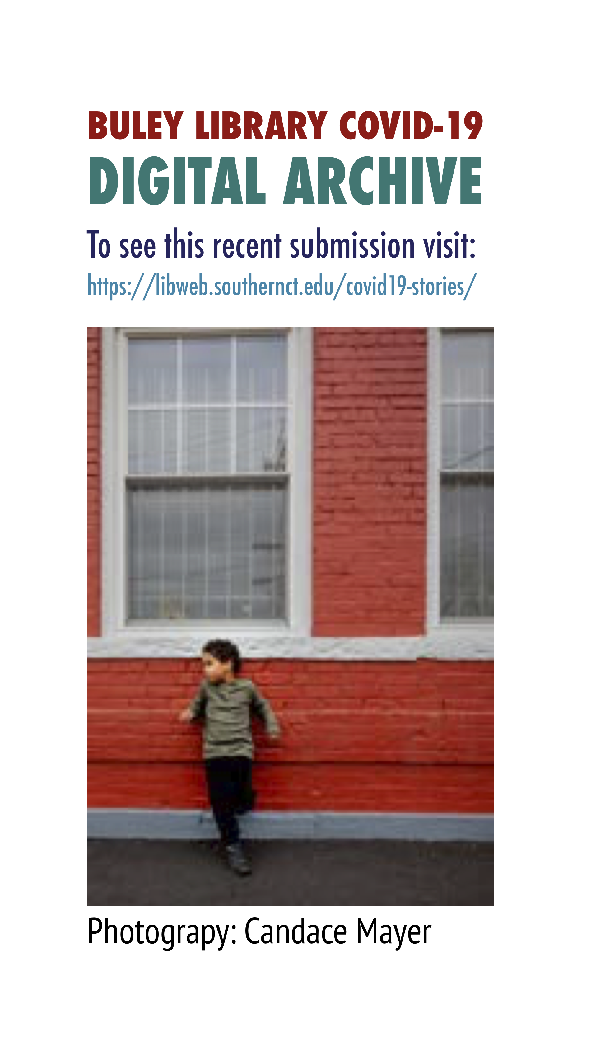 A young child leans against a red building. A photo from Candace Mayer in teh Buley Library COVID-19 Digital Archive. Click to view more.