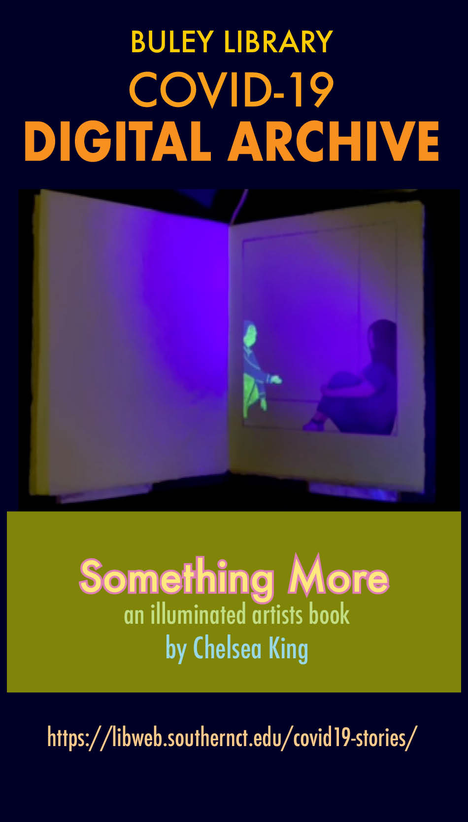 A glow in the dark figure is illuminated on the pages of book: Something More: an illuminted artist book by Chelsea King