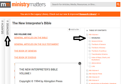 Table of Contents Ministry Matters