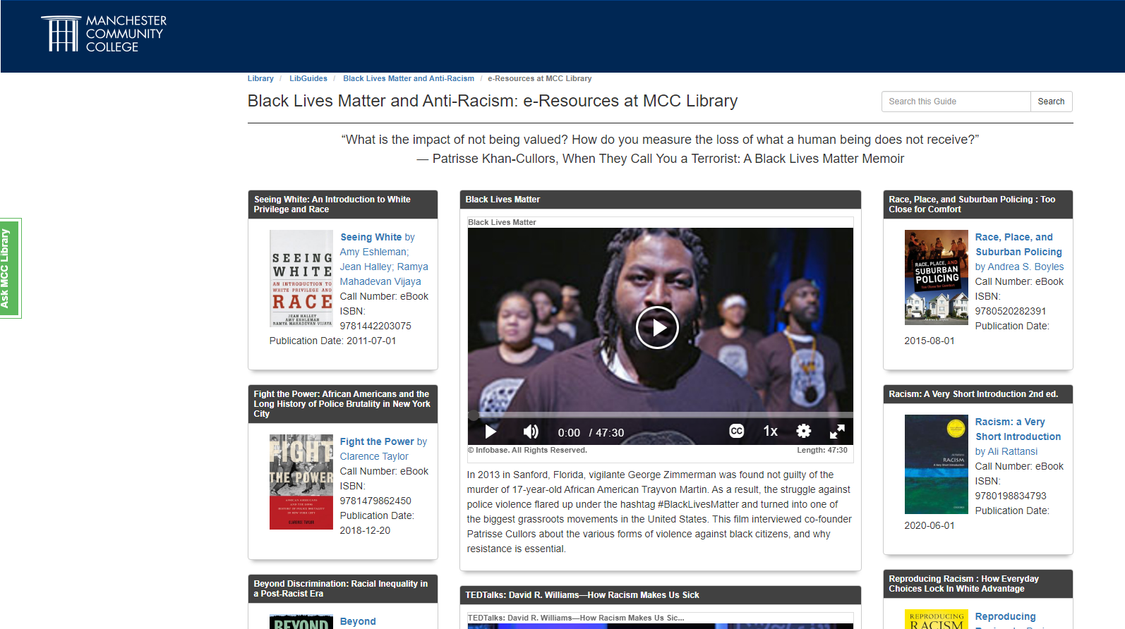 Image of Black Lives Matter and Anti-Racism LibGuide homepage