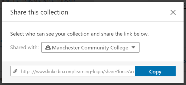 "Screenshot of ""Share this collection"" tool in LinkedIn Learning"
