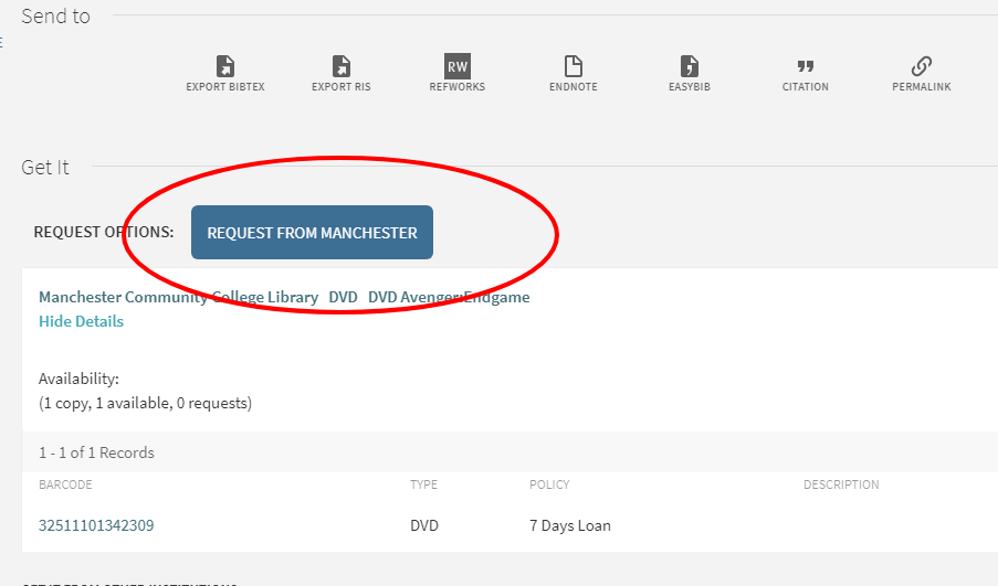 "Dispay of ""Request from Manchester"" button in MCC Search"