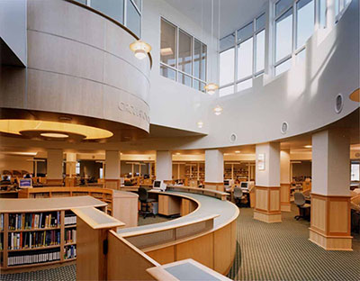 Photo of the Raymond F. Damato Library showing portion of the Circulation Desk