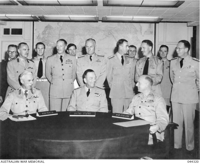 Pearl Harbor, Hawaii, 1952. The first meeting of Australia, New Zealand and United States (ANZUS) military representatives