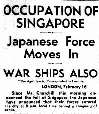 Occupation of Singapore, The Age, 1942