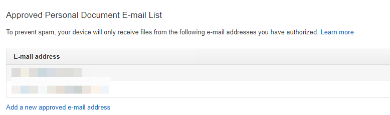 Approved Personal Document E-mail List screenshot