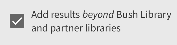 Add results beyond Bush Library and partner libraries