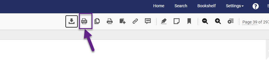 PDF button below blue menubar