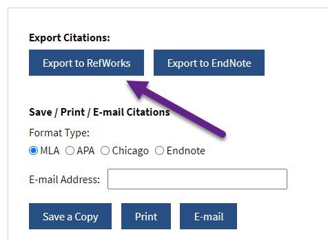 Export Citation from Project Muse database: screenshot – export to RefWorks button