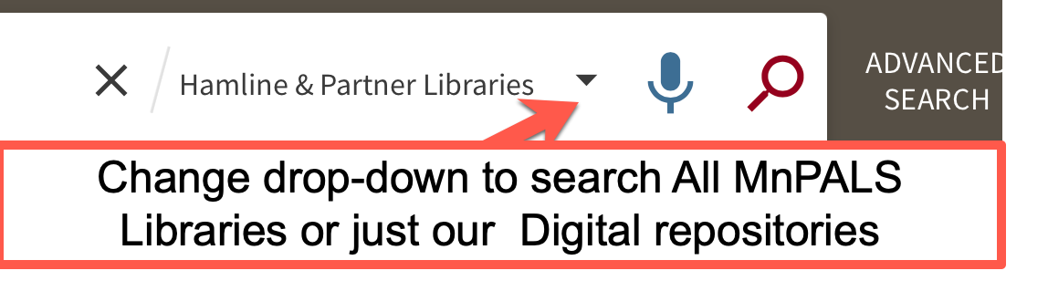 drop down to search all MNPals or digital repos.