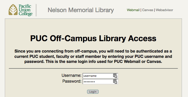 Screenshot, PUC off campus login screen