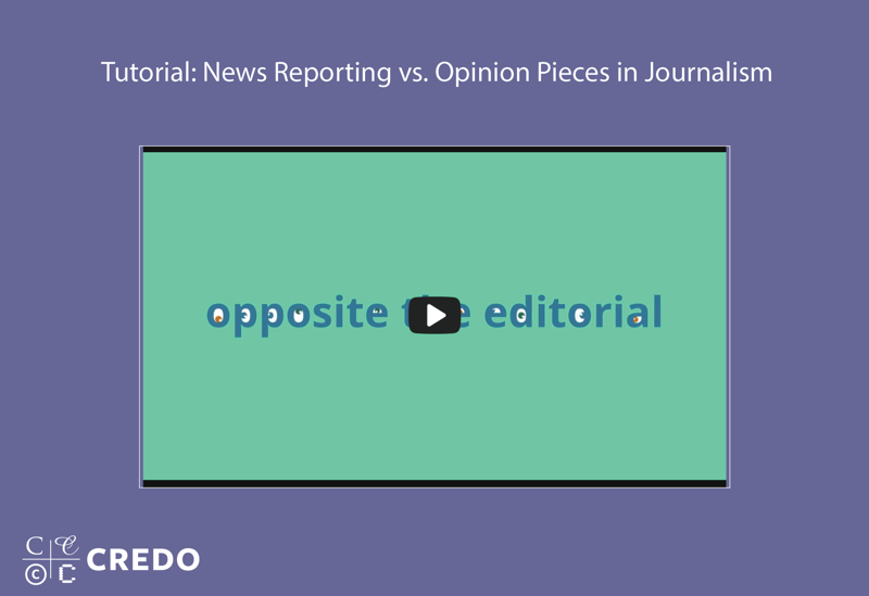Tutorial: News Reporting vs. Opinion Pieces in Journalism