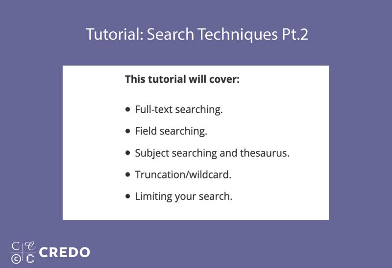 Tutorial: Search Techniques, Part 2