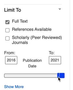 EBSCO's Publication Date limiter