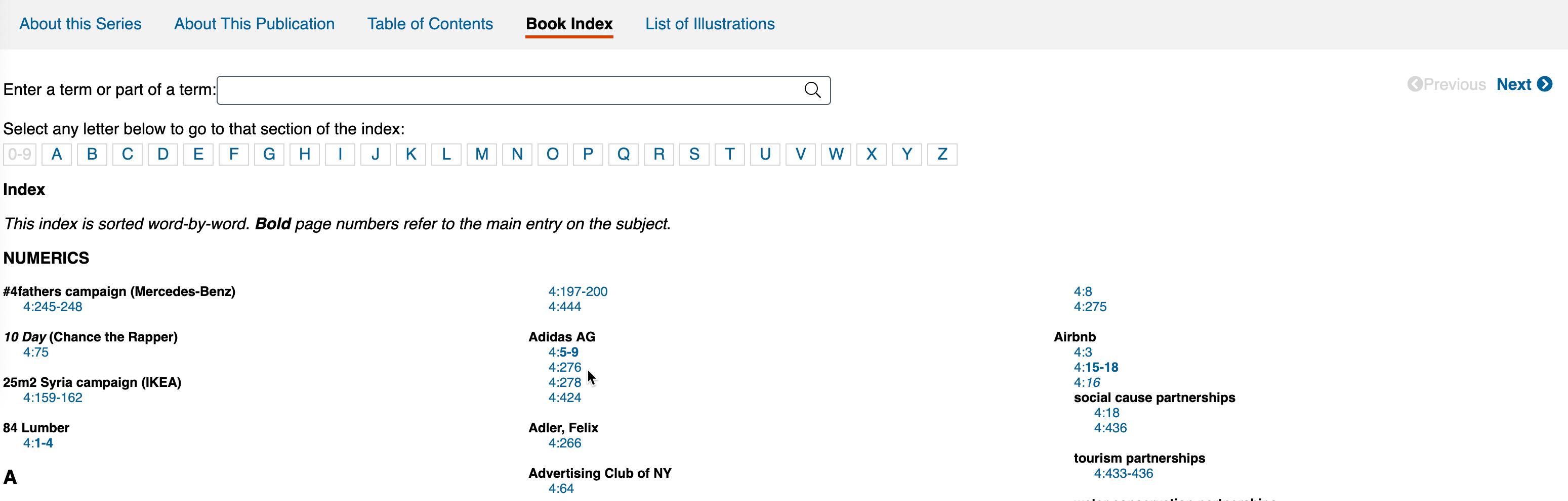 A book's index as presented in Gale eBooks.