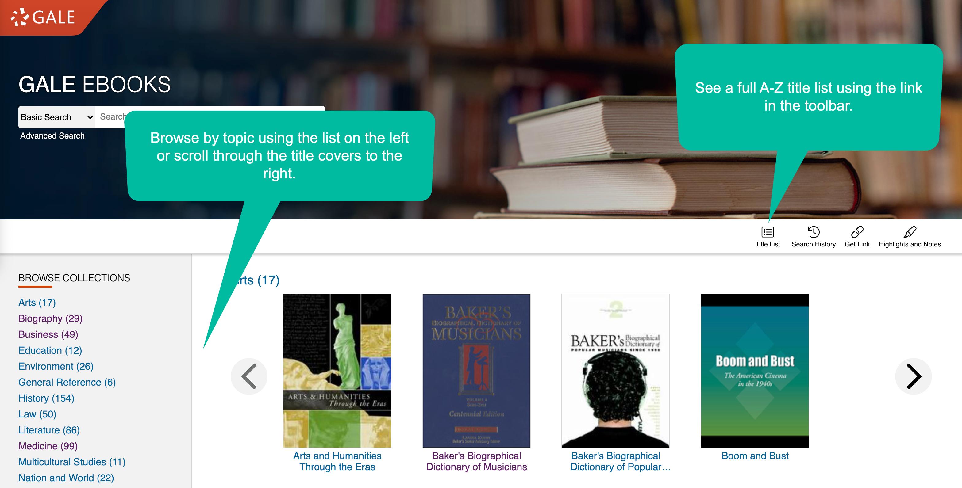 Gale eBook's homepage.