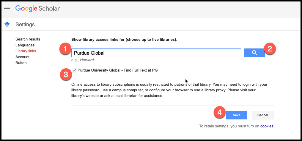 Screenshot depicting steps for adding PG Library link to Google Scholar.