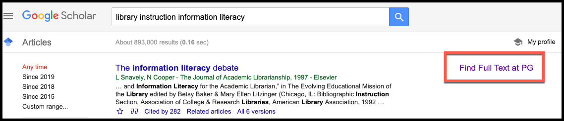 Screenshot depicting example of Full Text link to PG Library from Google Scholar results.