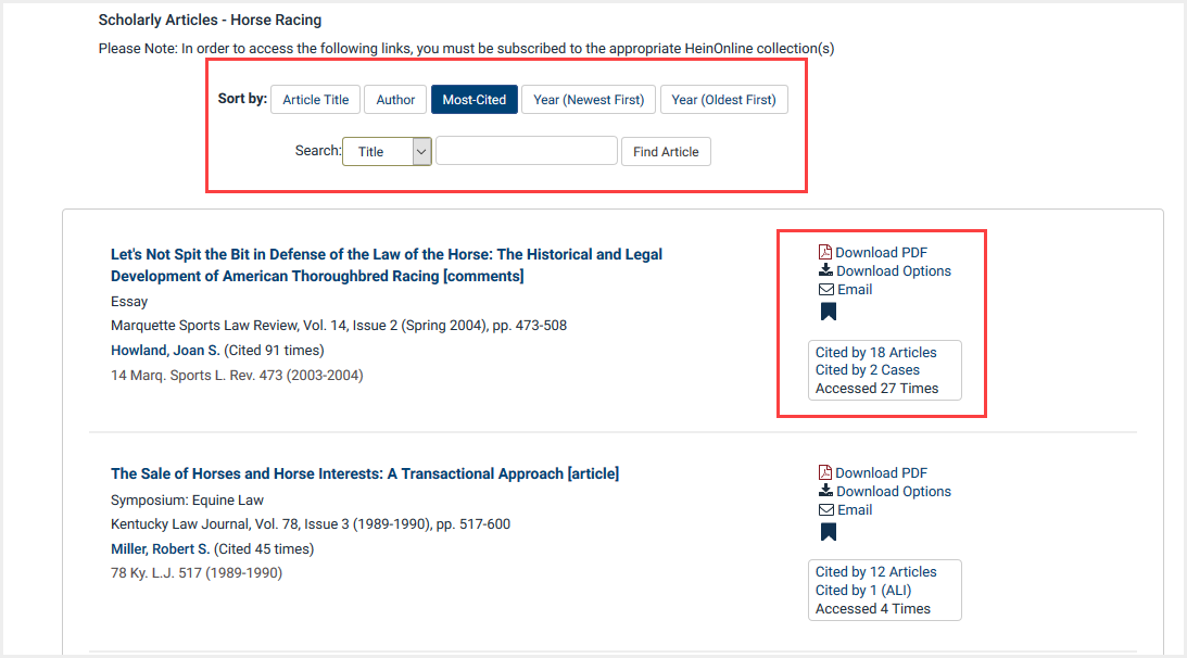 View of scholarly article results by topic