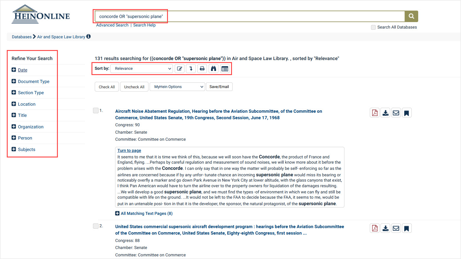 View of advanced search results