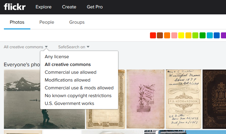 Screenshot of Flickr Commons search