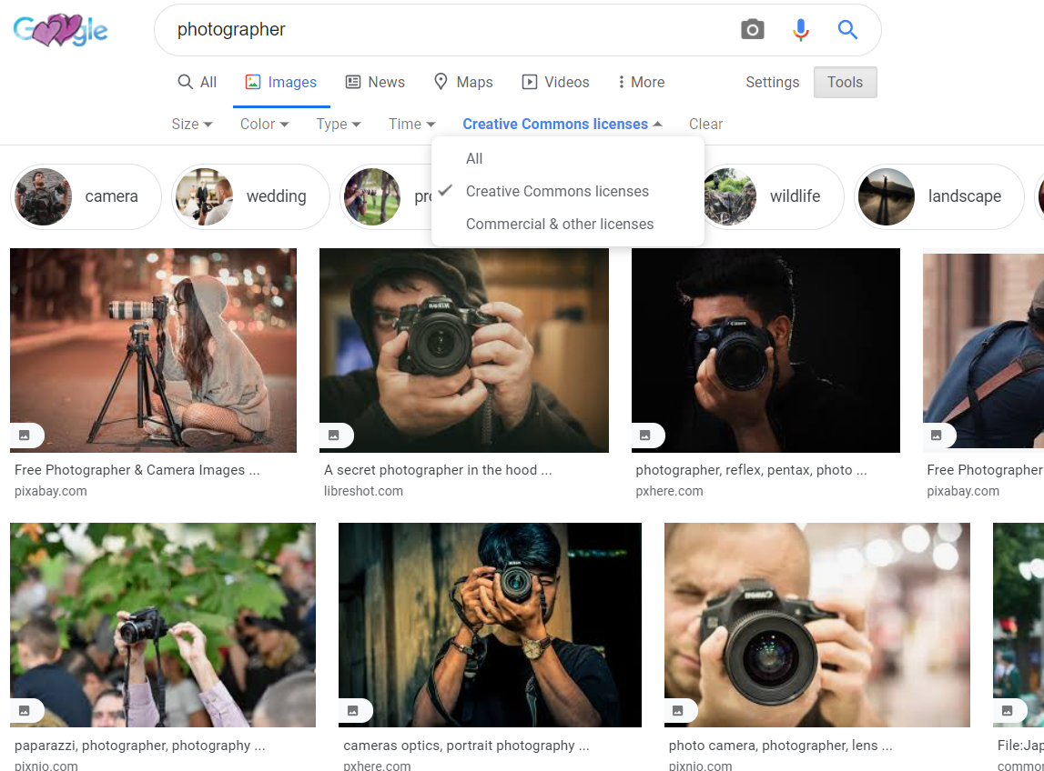 "Google image search for ""photographer"" showing usage rights options"