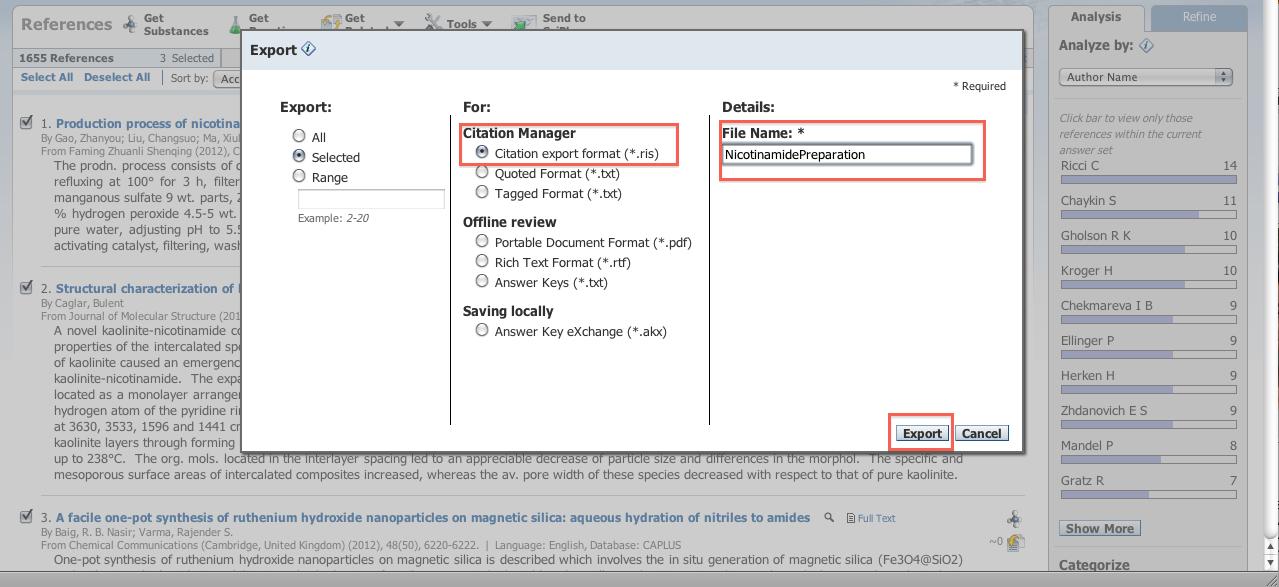 SciFinder citation export image
