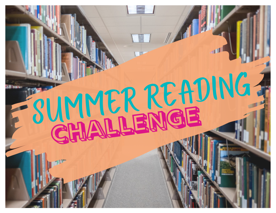 Library book stacks, challenge logo