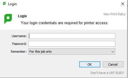 """this image is what the prompt from papercut looks like with the statement """"Your login credentials are required for printer acess. and then a data entry box for username and a data entry box for password."""