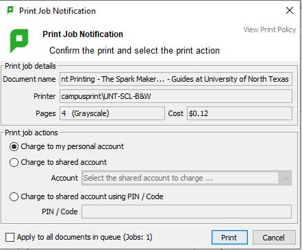 Print Job Notification sample picture that shows document name, printer, pages and cost of the print job being sent to the printer
