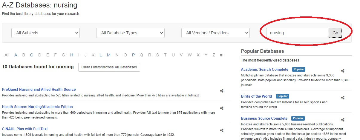 Sample Subject Search on A to Z database page