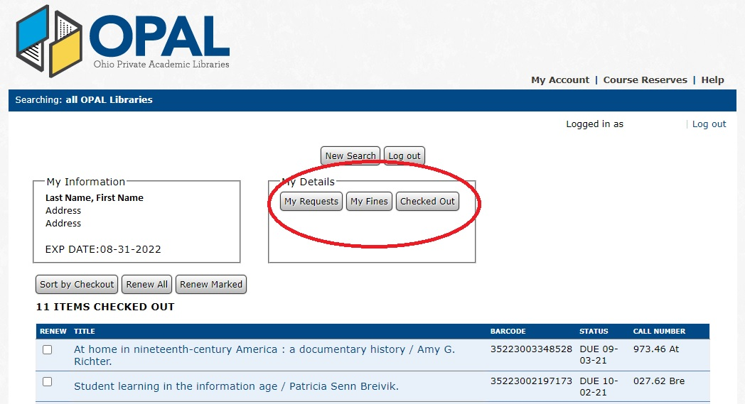 OPAL Catalog My Account Screen