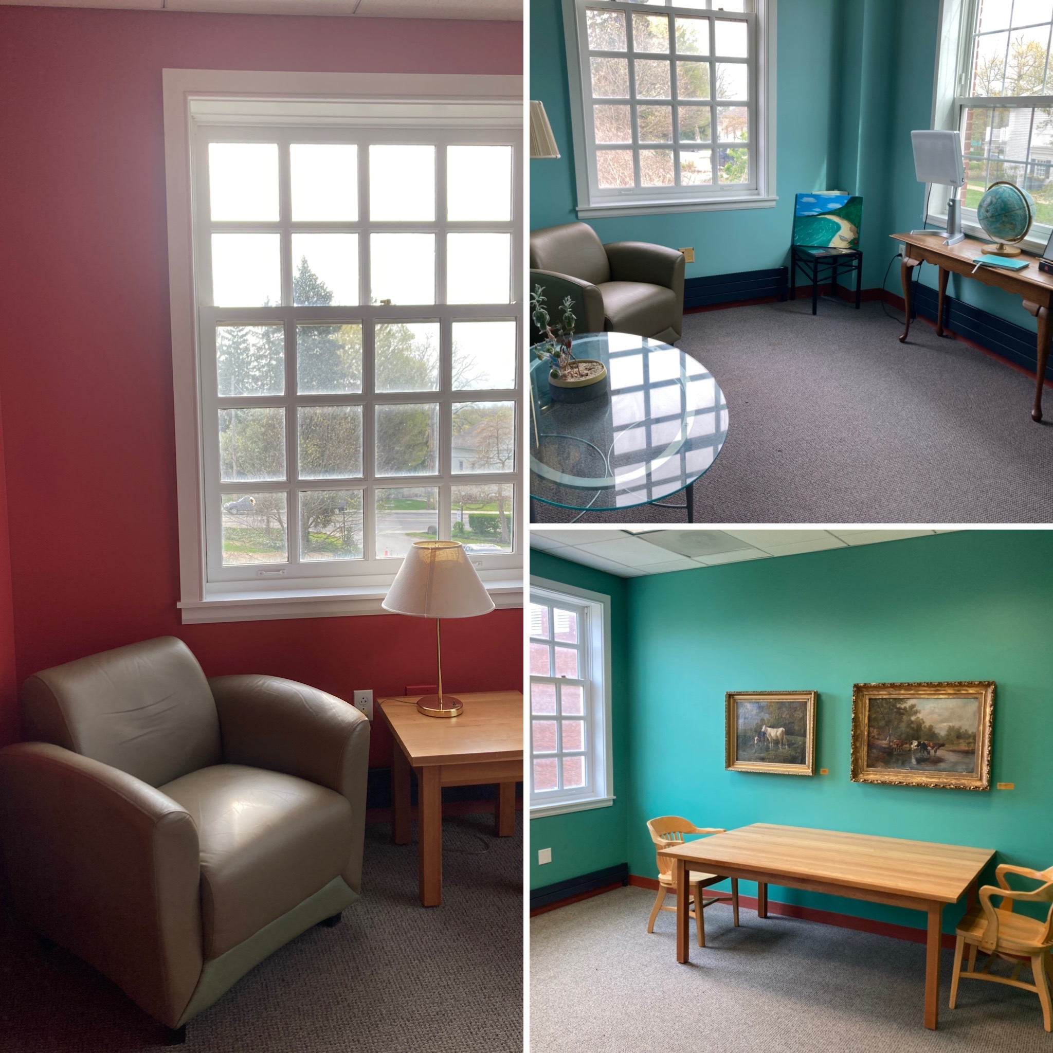 3 study areas with tables and chairs