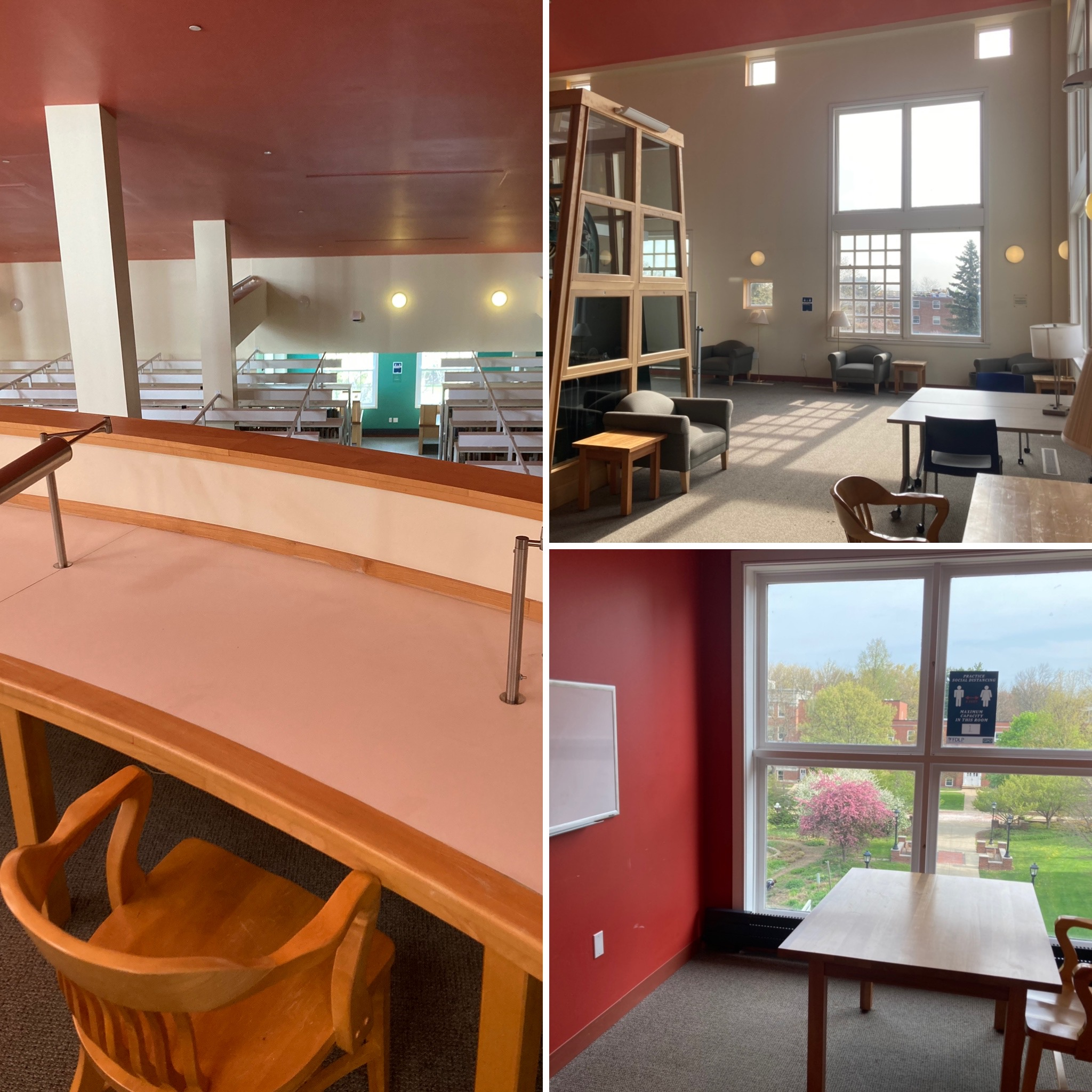 three study spaces with tables and chairs