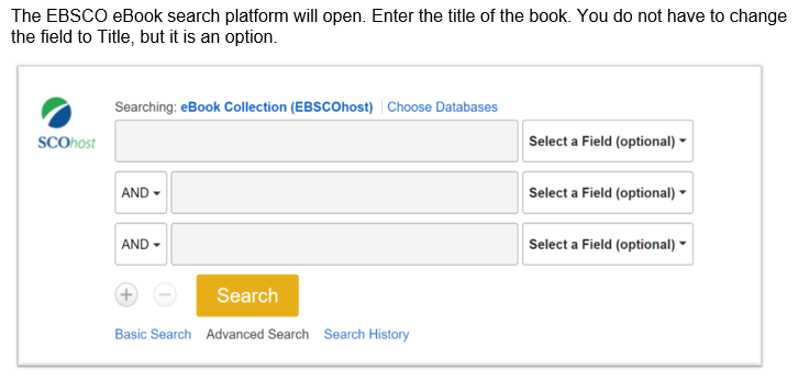 enter the title of the book in the search field