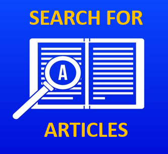 search for articles in yellow on blue background w white book outline