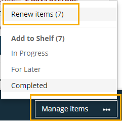 manage items, renew