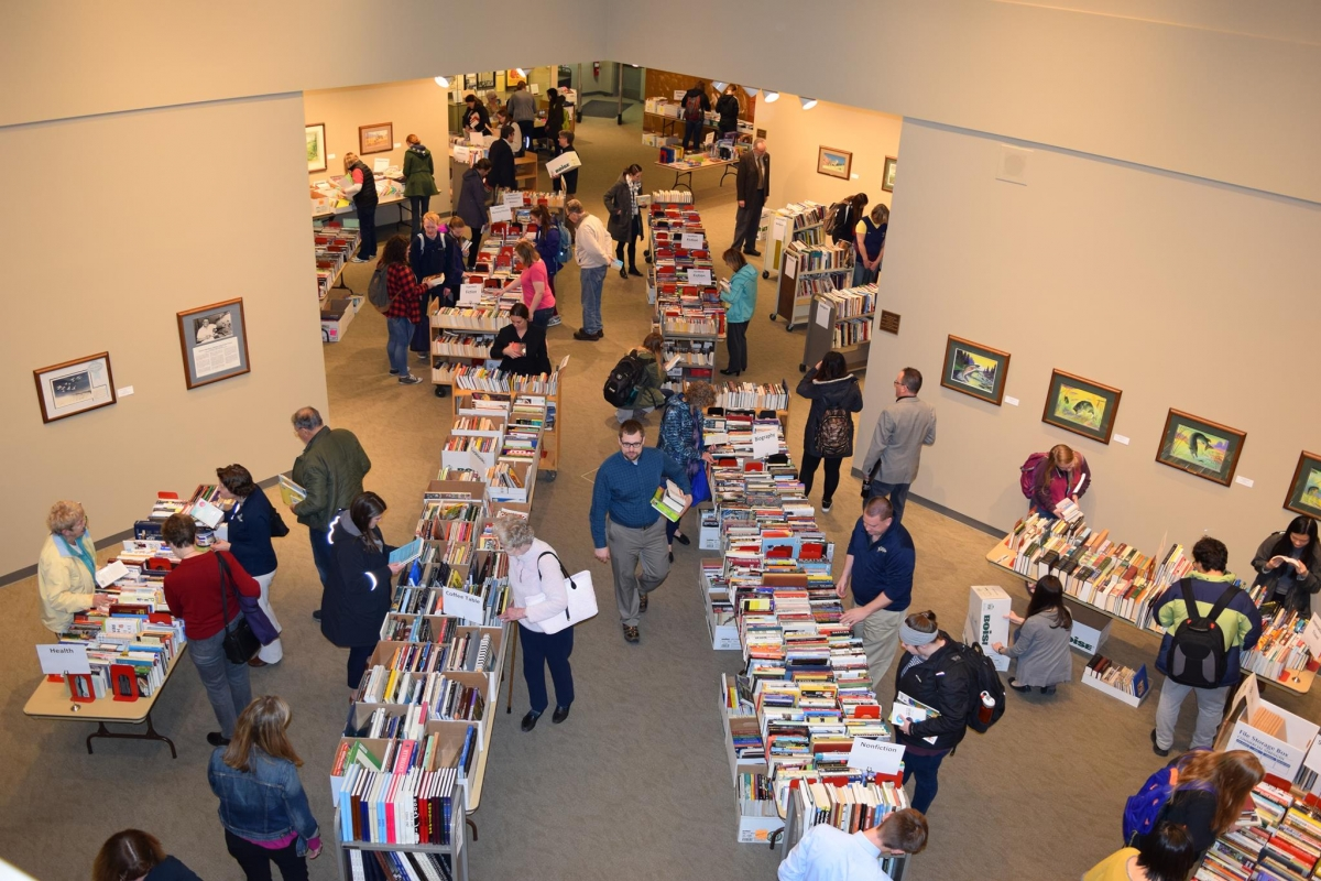 Shoppers at the book sale