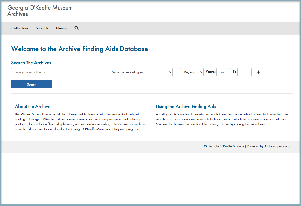 Archive findings aids database landing page